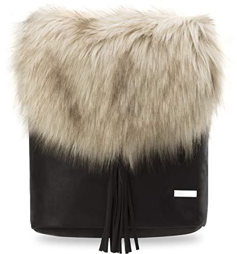 originelle Damentasche Handtasche Umhängetasche Schultertasche mit Fell und Fransen schwarz - beige
