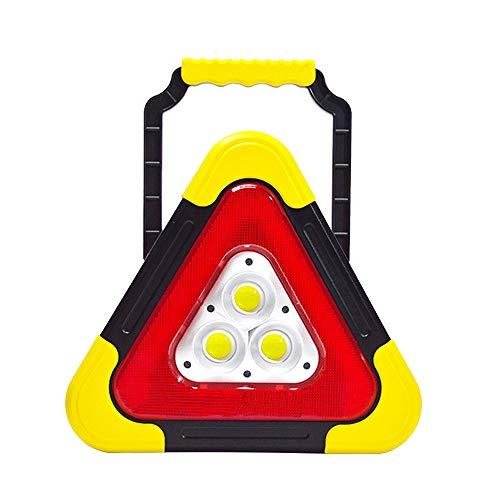 Kraeoke - Triángulo de advertencia, portátil, USB, con 3 bombillas LED, carga solar, lámpara de emergencia