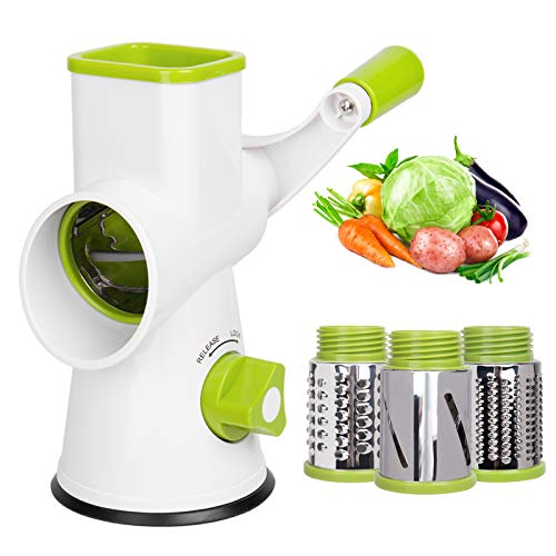 X Home Rotary Cheese Grater Shredder - 3 Drum Blades Manual Vegetable Slicer Nut Grinder with Strong Suction Base, Easy to Clean (White)