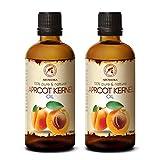 Aceite de Semilla de Albaricoque 2x100ml - Prunus Armeniaca - Italia - Prensado en Frío - 100% Natural y Puro 200ml - Aceite Extra Virgen - Cuidado para Rostro - Cuerpo