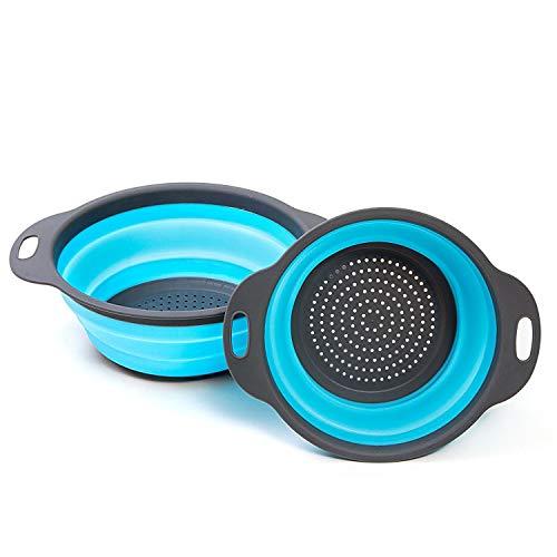2 piezas Cocina Plegable Colador de Silicona Colador Plegable Cesta de Frutas Coladores Cocina Respetuosos del Medio Ambiente no Tóxico Fácil de Limpiar (Azul)