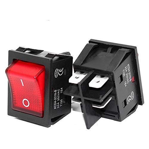 Xyhcs 4 Pin Interruptor t85 basculante 30A / 250V 16A / 250V de Alta Resistencia con la luz 12V 24V 110V 220V 380V (Color : Red 6 Pins ON ON, Voltage : 12V)