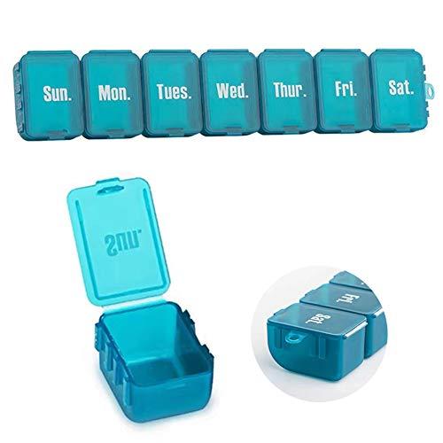 CVOZO Medicijndoos 7 Dagen, Pillendoosje 7 Dagen, Afneembare Medicijndoos, Pillendoosje met 7 Vakken, Handige en…