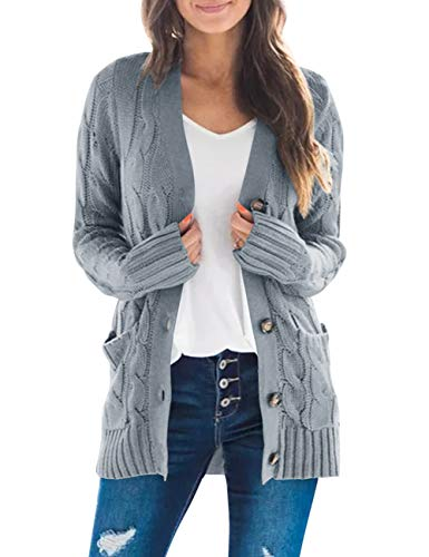 MEROKEETY Women's Long Sleeve Cable Knit Sweater Open Front Cardigan Button Loose Outerwear Grey