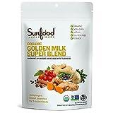 Sunfood Superfoods Golden Milk Super Blend - All Natural, Organic Ingredients | Ultra-Clean (No Chemicals, Artificial Flavor, Additives or Fillers) | Non-GMO, Gluten-Free, Vegan, Kosher | 6 oz Bag