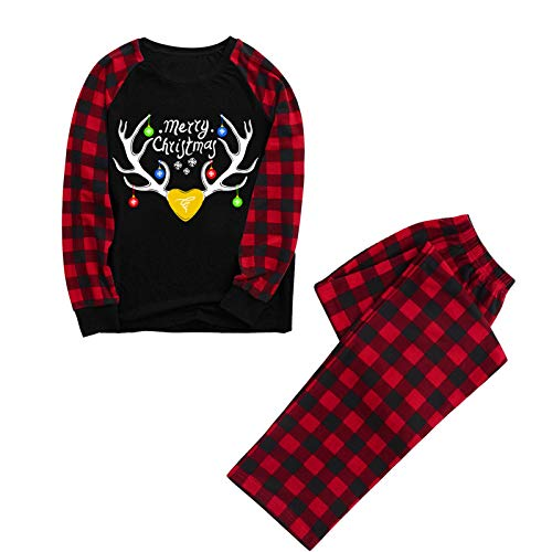 Xmiral Weihnachtsoutfits Damen Herren Kinder Langarm Shirt + Hosen Sets, Baby Strampler, Plaid Gedruckt Xmas Outfits(Mutter 1,XL)