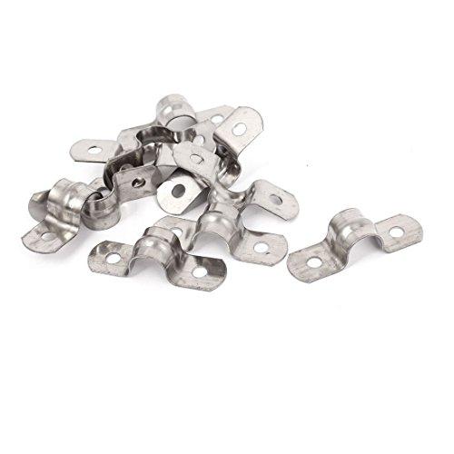 Correa de tubo rígida de 10 mm (0,4 pulgadas), correas de tubo de 2 orificios, abrazadera de clip de tubo de tensión de acero inoxidable 304, 10 piezas