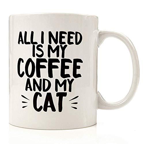 Todo lo que quiero en el mundo es mi café y mi gato Taza de café - Regalo blanco para esposo, esposa, madre, padre, amigo, introvertido en el día de graduación, cumpleaños de Navidad, acción de gracia
