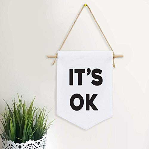It's OK Canvas Banner Large Canvas Quote Single Flag Fabric Banner Wall Hanging Motivational Affirmation Wall Art Pennant Minimalist Home Décor Boston Terrier Canvas Wall Art Canvas Wall Art Quotes