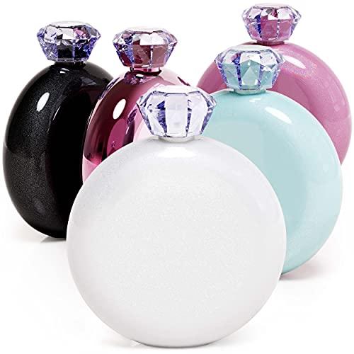 Maars Jewel Flask Stainless Steel Bottle with Leak Proof Cap   5oz Cute, Compact & Hidden Liquor Storage – Glitter Moonrock