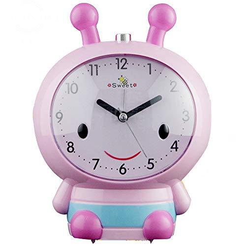 Wanuigh wekker, rond, pauze, alarm, nachtcartoon, licht, stil horloge, werkt op batterijen, voor slaapkamer, kantoor, reizen