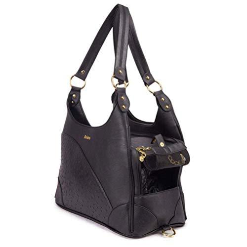 HXPXXB Haustier Rucksack Pu-Leder Pet Carrier Handtaschen Für Kleine Hunde Welpen Kätzchen Einkaufstasche Chihuahua Dackel Pudel 40X20X25 cm (Schwarz)