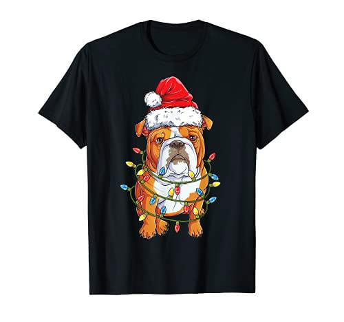 English Bulldog Santa Christmas Tree Lights Xmas Gifts Boys T-Shirt