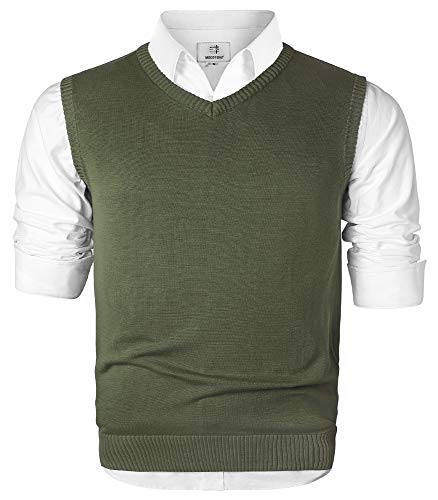 MOCOTONO Men's V-Neck Cotton Sleeveless Sweater Casual Vest Green Medium