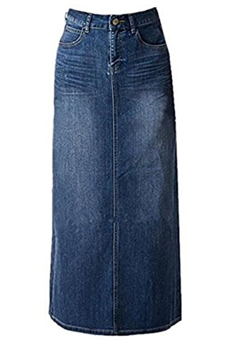 Women Maxi Pencil Jean Skirt- High Waisted A-Line Long Denim Skirts For Ladies- Blue Jean Skirt,Blue,10