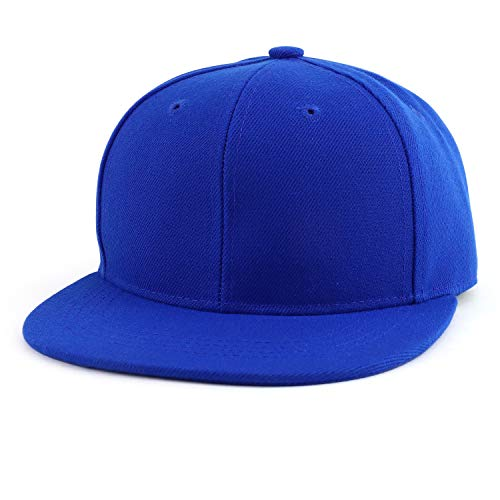 Trendy Apparel Shop Infant to Youth Plain Structured Flatbill Snapback Cap - Royal - Youth