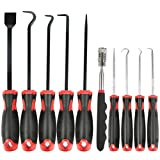 QLOUNI 10Pcs Long Hook and Pick Set, Precision Scraper Gasket Scraping Hose Removal Puller Hook and Pick Set with Magnetic Telescoping Pick Up Tool Kit - Perfect for Automotive and Electronic Hand Too