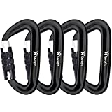 Favofit Ultra Sturdy Auto Locking Carabiner Clips, 4 Pack, 12KN (2697 lbs) Heavy Duty Caribeaners for Camping, Hiking, Outdoor & Gym etc, Twistlock Carabiners for Dog Leash & Harness, Black