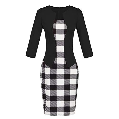 Teresamoo Damen-Kleider, Colorblock, kariert, für Arbeit, Business, Party, figurbetont, einteiliges Schärpenkleid