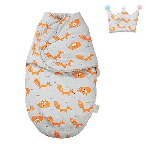 NROCF Sac De Couchage pour Bébé - Bébé Cocoon Feuilles Blanket Motif, Enveloppe Transport Sac pour Couches Cocoon Nouveau-Nés,Fox