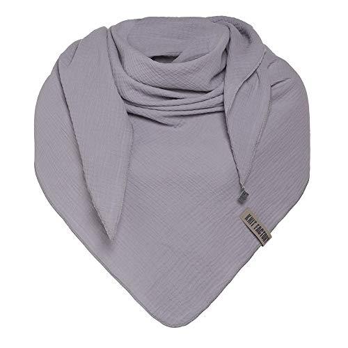 Knit Factory - Liv Dreieckstuch - Tuch Schal für Damen - Weiches Musselintuch - Für Frühling und Sommer - 100% Baumwolle - Grau
