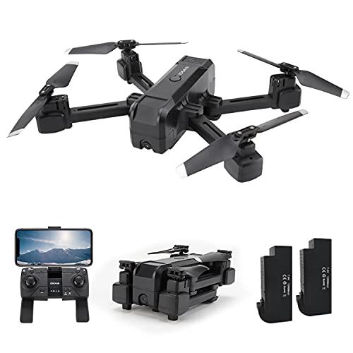 IDEA19 Drone con Telecamera Professionale 2K HD, Pieghevole Drone GPS Trasmissione WiFi 5GHz, RC Quadricottero con Fotocamera 120 °FOV, Modalità Senza Testa, Droni per Principianti (2 Batterie)