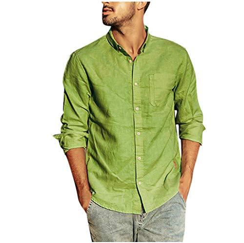 Sumeiwilly Herren Hemd Langarm Henley Leinenhemd aus Baumwollmischung Einfarbig Casual Sommer Freizeithemd Regular Fit Men Shirt, S-XXXL