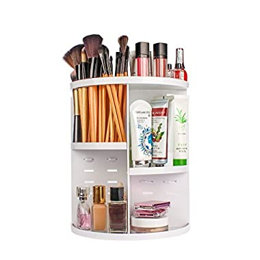 ELOKI 360 Makeup Organizer, DIY Detachable Spinning Cosmetic Makeup Caddy Storage DIsplay Bag Case Large Capacity Makeup Box Acrylic Vanity Organizer Box, Great for Countertop and Bathroom, White