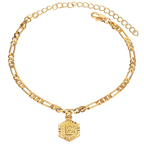 26 Letters 4mm 18k Gold Plated Figaro Chain Initial Anklet for Women Fashion Ankle Bracelet with Alphabet Foot Jewelry with Extension (letter B)