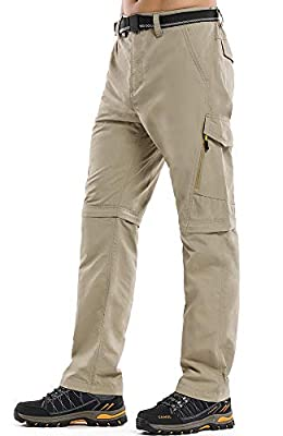 Mens Hiking Pants Convertible Zip Off Quick Dry Lightweight Outdoor Travel Safari Pants (6088 Khaki 36)