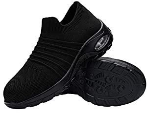 DYKHMILY Safety Shoes for Women Air Cushion Steel Toe Cap Trainers Slip on Work Shoes Lightweight Breathable Industrial Safety Sneakers Protective Footwear(Black,4UK)