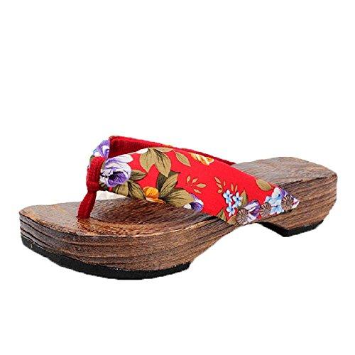 TWIFER Slipper Damen Sommer Sandalen Strand Beschuht Hölzerne Sandelholzhefterzufuhren der Frauen