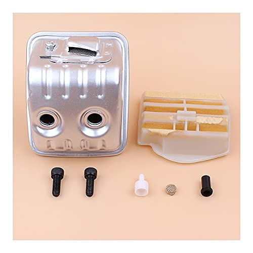 Aplicabilidad Muffler Tornillo Folleto de combustible Ventilación Guía de filtro de aire Kit de buje Ajuste para H-U-SQVarna 450 445 445e Piezas de repuesto de motosierra de gasolina OEM 544147702 Aju