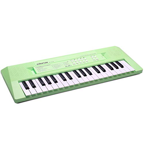aPerfectLife Kids Piano Keyboard, 37 Keys Multifunction Portable Toy Piano Electronic Music Keyboard Instrument for Early Learning Educational (Green)