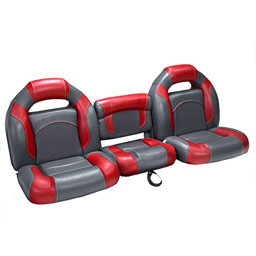 """DeckMate 61"""" Bass Boat Seats (Charcoal & Red)"""
