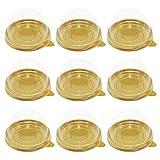 Tomaibaby 100 Piezas Transparentes Vainas de Cupcakes Contenedor de Hojaldre de Yema de Huevo de Plástico Cajas de Domo de Mooncake Transparente Caja de Embalaje para Hornear para Muffins