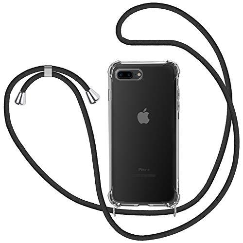 Funda con Cuerda para iPhone 7 Plus   8 Plus, Carcasa Transparente TPU Suave Silicona Case con Correa Colgante Ajustable Collar Correa de Cuello Cadena Cordón para iPhone 7 Plus   8 Plus - Negro