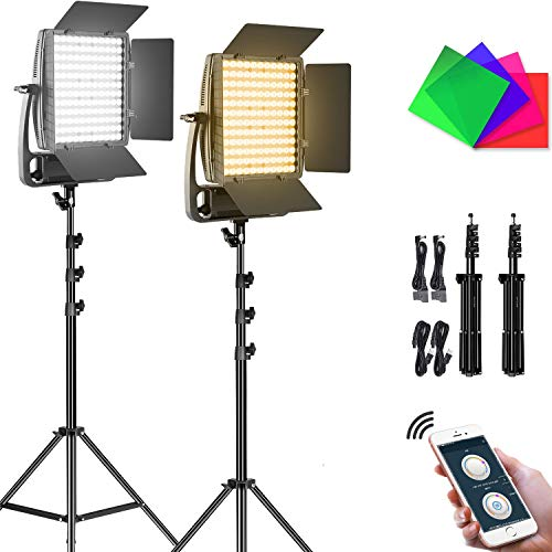 GVM 50W Photo Light Panel,LED Video Lighting with Tripod Stand,144PCS LED Beads Bi-Color Dimmable Photography Lighting Camera Lights for YouTube,Studio Photography,Video Shooting,Live (2Pack)