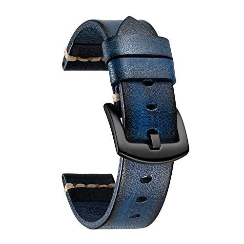 BINLUN Watch Bands Compatible with Fossil Q Venture Gen 5 Carlyle/Julianna/Gen 3 Explorist/Gen 4 Venture HR/Sport 41mm 43mm/Hybrid Smartwatch Rubbing Vegetable Tanned Leather Watch Straps(18/22/24mm)
