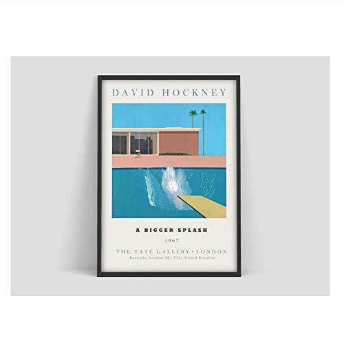 Suuyar David Hockney Kunstausstellung Poster EIN Größerer Splash Kunstdruck David Hockney Druck Hockney Wandkunst-20X28 Zoll Ohne Rahmen