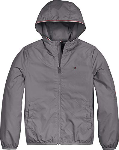 Tommy Hilfiger Essential Hooded Logo Jacket Giacca, Light Asphalt, 10 Bambino
