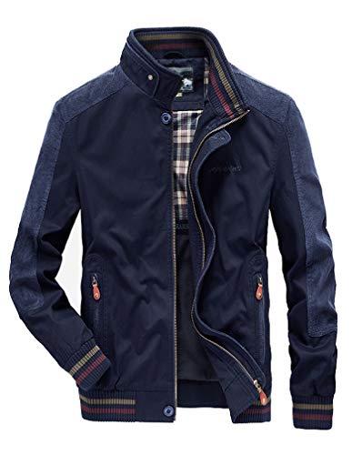 VENCANN Men's Casual Stand Collar Lightweight Softshell Zipper Windbreakers Bomber Jacket (Color : A-Blue, Size : XL)