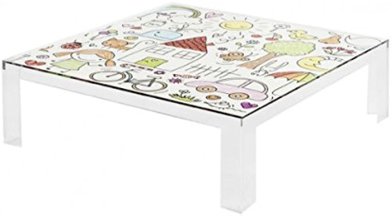 Kartell Table Invisible Kids Tisch, Plastik, Bunt, 100 x 100 x 55 cm