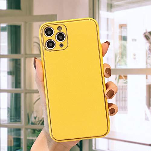 HHZY Funda para iPhone 12/12 Pro/12 Pro MAX Carcasa Enchapado de Cuero Premium con Protector de Lente de Cámara Ultra Fina Suave TPU Anti Choque Back Cover,Amarillo,XSMAX