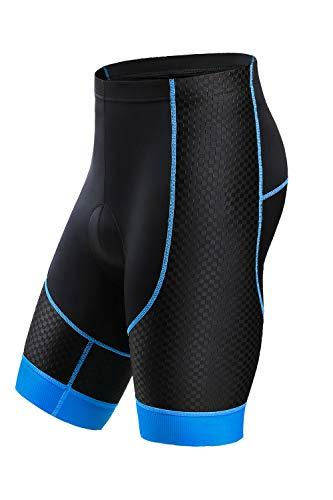 Letook Pantalones Cortos Ciclismo para Hombres Bicicleta Traspirable con Gel Acolchado Anti-UV y Cómodo(Negro&Azul,L)