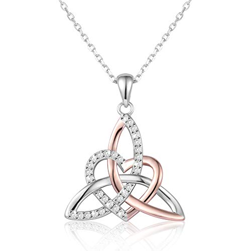 Celtic Trinity Knot Necklace Irish Jewelry Triquetra Trinity Vintage Heart Pendant Necklace For Woman Girl Mother Daughter Mother's Day/Graduation/Christmas Gift