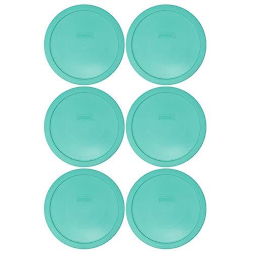 Pyrex 7402-PC Light Green Round Plastic Food Storage Lids - 6 Pack