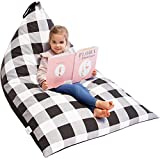 Huddle Supply Co Stuffed Animal Bean Bag Storage Stuffie Seat - Farmhouse Buffalo Plaid Designer Bean Bag - Stuffed Animal Storage Bean Bag Chair for Kids, Teens and Adults