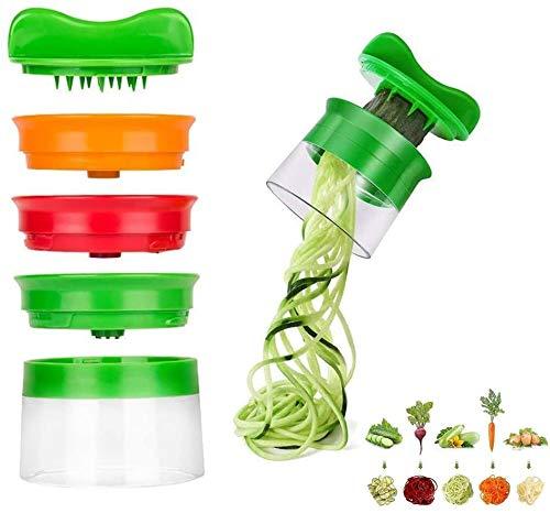Taglia Verdure a Spaghetti, 4 in 1 Spiralizzatore di Verdure Affetta Verdure a Spirale con Contenitore