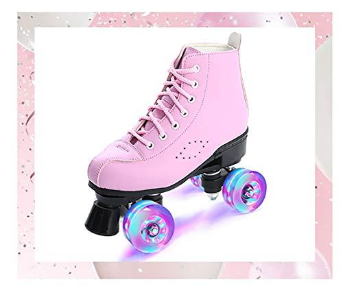 FZ FUTURE Kinder Led Roller Schuhe, Rollschuhe Leucht Inline Skates Rollschuhe, Zweireihige Rollschuhe für Kinder Jungen Mädchen für Damen/Herren,Rosa,45